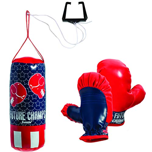 Franklin Sports Future Champs Kids' Mini Boxing Set - Includes Kids' Boxing Gloves - Punching Bag & Door Jam Bracket with Rope for Adjustable Punching Bag -