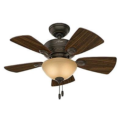 Hunter Fan Company 52090 Watson Ceiling Fan with Five Cabin Home/Walnut Blades and Light Kit, 34-Inch, New Bronze
