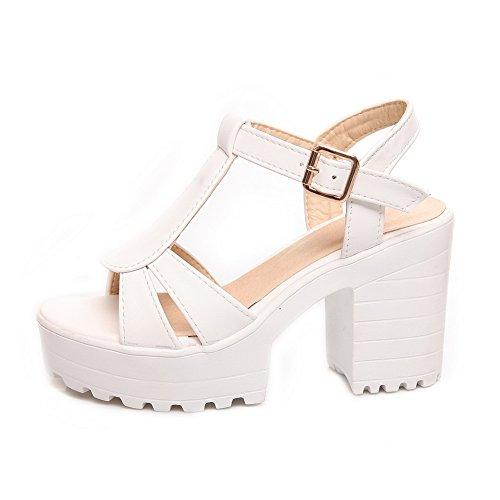 AdeeSu Womens Square Heels Chunky Heels Buckle Urethane Sandals SLC03342 White Uc9kwlI66