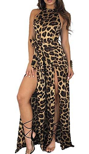 Womens Sexy Leopard Jumpsuit - Halter Sleeveless High Slit Cold Shoulder Loose Wide Leg Long Pants Jumpsuit ()