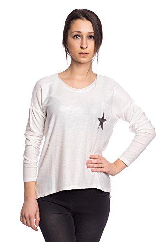 Abbino 6238-1 Camisas Blusas Tops para Mujeres - Hecho en ITALIA - Colores Variados - Entretiempo Primavera Verano Otoño Mujeres Femeninas Elegantes Manga Larga Vintage Oficina Fiesta Rebajas Blanco (Art. 6238-1B)