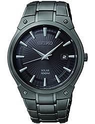 Seiko Mens SNE325 Dress Solar Black Stainless Steel Watch