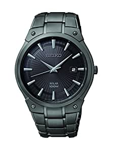 Seiko Men's SNE325 Dress Solar Black Stainless Steel Watch