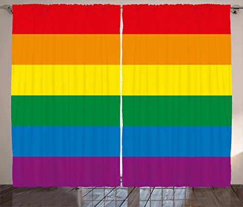 """Ambesonne Pride Curtains, Horizontal Rainbow Colored Flag of Gay Parade Freedom Equality Love Passion Theme, Living Room Bedroom Window Drapes 2 Panel Set, 108"""" X 90"""", Rainbow"""