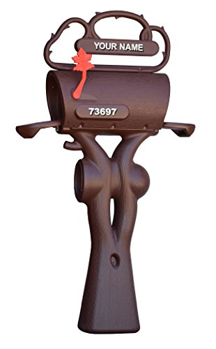 - Double Wall Plastic Rural Rustic Large Capacity Mailbox Brown Post Mount