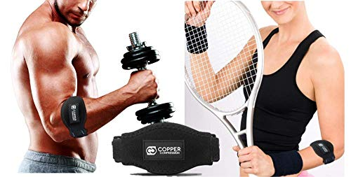 Copper Tennis Elbow Brace/Forearm Strap. GUARANTEED Highest Copper Content! Patent Pending. The ONLY Copper Tennis And Golfers Elbow Brace. With Gel Fit Pad. Support Lateral Tendonitis (2-PACK)