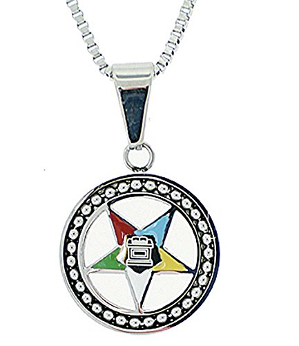Eastern Star Symbol (Order of the Eastern Star Necklace Pendant - Silver Color Steel with OES Symbol)
