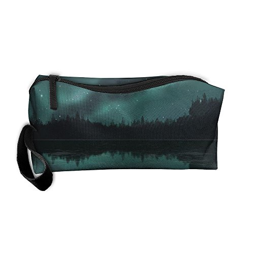 Chimneys Behind Lakeside Trees Oxford Cloth Portable Girl Women Travel Storage Bags Fashion Calico Receiving Bag Wallets Purse Zipper Stationery Kits Makeup Bags Multi-function (Fashion Chimney)