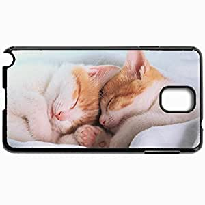 Black Case For Samsung Galaxy Note 3 Hard Cutomizd Personalizd Cats Kittens Sleep Sleep Blanket Ears Feet Nose Mustache Cats Black