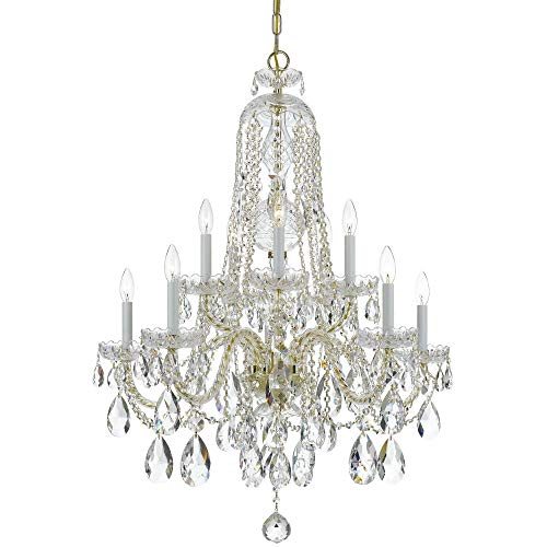 Crystorama Traditional Crystal 1110 10 Light Chandelier - Polished Brass - Clear Swarovski Strass - Crystal Brass Swarovski Strass