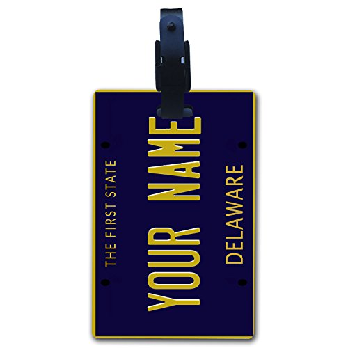 Dover Vanity - BleuReign(TM Personalized Custom Name Delaware State License Plate Luggage Tag with Strap