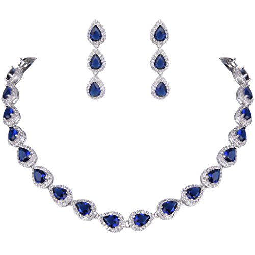 ever faith womens cz elegant teardrop necklace earrings set blue sapphire color silver tone - Color Contacts Amazon