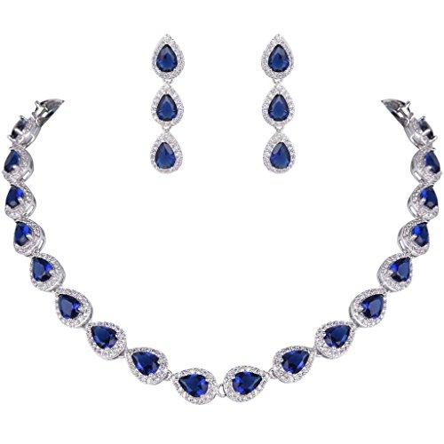 EVER-FAITH-Womens-CZ-Elegant-Teardrop-Necklace-Earrings-Set-Silver-Tone
