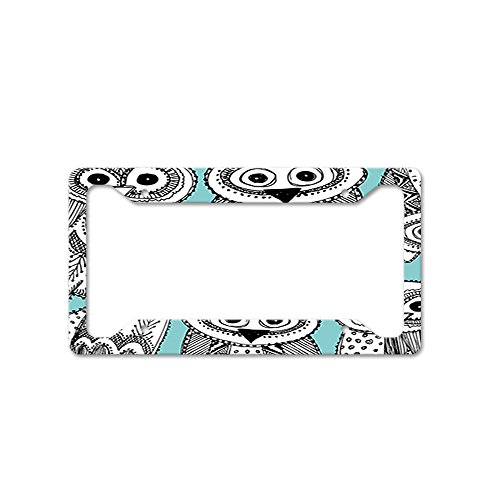 - Style in Print Retro Owls Pattern Auto Car License Plate Frame Tag Holder 4 Hole