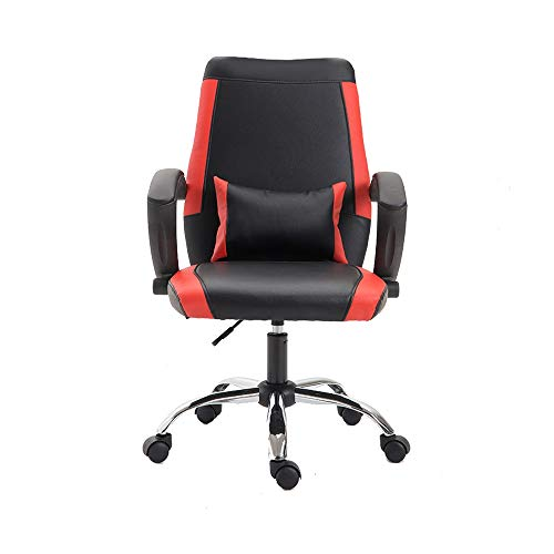 Swivel Chair Conference Chair, Lifting Rotation Executive Chair Ergonomics Household Office Chair with Mobile Lumbar Pillow for Office Student Dormitory (Color : Black red)