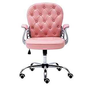JL Comfurni Office Chair Faux Leather Swivel Adjustable Home Office Computer Desk Chairs … (Pink)
