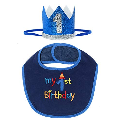 Maticr Glitter Baby Boy Girl First Birthday Crown Headband & Bibs Set for Cake Smash Photo Prop (Royal Bib Kits) -