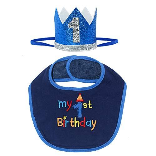 Maticr Glitter Baby Boy Girl First Birthday Crown Headband & Bibs Set for Cake Smash Photo Prop (Royal Bib Kits)