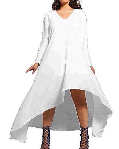 ZANZEA Femme Lâche Irrégulier Maxi Robe de Soirée Col Rond Grand Taille Tunique Chemise Blanc FR 40/Etiquette Taille L