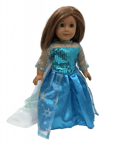 Glamerup: Frozen Inspired Elsa (DX) of Arendelle Blue 18 inch Doll Dress with Sparkle Sequined (My Twinn Doll Shoes)