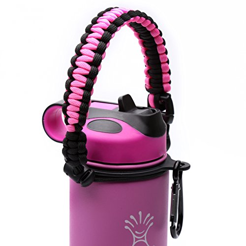 Hydro Flask Handle - Paracord Survival Strap with Security Ring for Wide Mouth Water Bottles Carrier (Pink/Black)