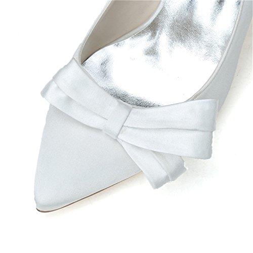 Sarahbridal ,  Damen Durchgängies Plateau Sandalen mit Keilabsatz Weiß