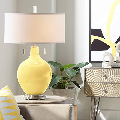 Toby Modern Table Lamp Daffodil Yellow Glass Gourd White Drum Shade for Living Room Family Bedroom Bedside Nightstand - Color + Plus