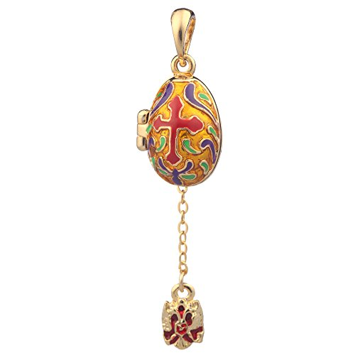 danila-souvenirs Russian Faberge Style Egg Pendant/Charm with Cross & Imperial Eagle 0.9'' ()