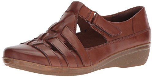 Clarks Womens Everlay Mantello Mocassino In Pelle Color Cuoio Scuro