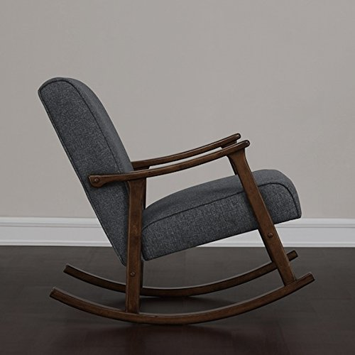 Beau Amazon.com: Granite Grey Fabric Retro Wooden Rocker Glider Chair: Kitchen U0026  Dining
