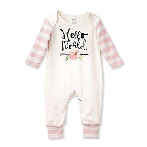Tesa Babe Hello World Baby Romper in Pink Stripe ()