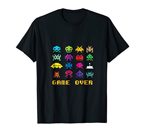 Invaders Game Over Adult T-shirt for Men or Women, S to 3XL