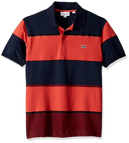 (Lacoste Men's S/S Technical Pique Colorblock Polo, Pinot/SALVIA/Navy Blue Medium)