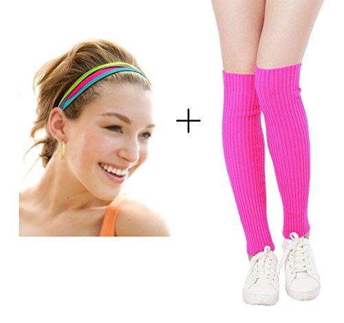 Kimberly's Knit Women 80s Neon Pink Running Headband Wristbands Leg Warmers Set (Free, Zpheadbands+hotpink)