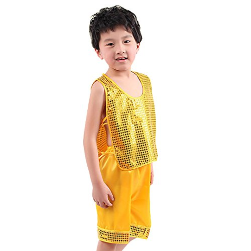 [Multifit Boys Gold Shiny Sequin Festival Dancing Costume with Shorts Halloween Costume Suit(Small)] (Dance Festival Costumes)