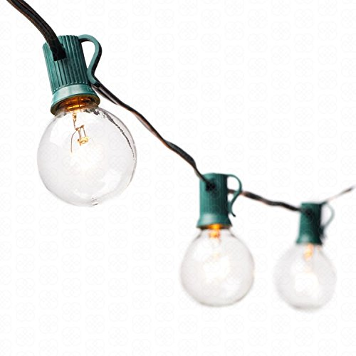 Price comparison product image Great Mountain Supply G40 String Lights with 30 Clear Globe Bulbs Green