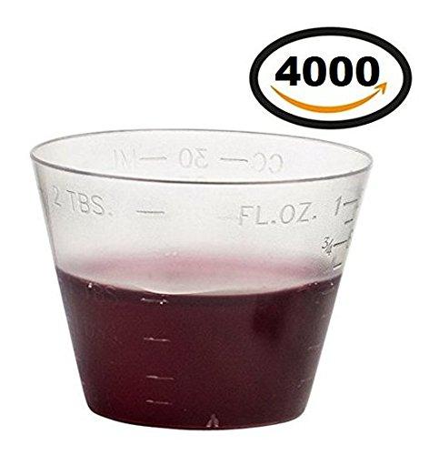 4000 Vakly Disposable Graduated Plastic Medicine Cups, 1 OZ