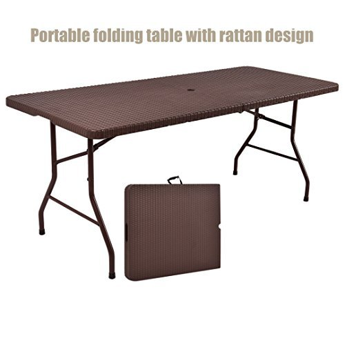 New 6ft Indoor Outdoor Folding Table Rattan Pattern Design Portable Party Picnic Cooking Dining Camping Laptop Desk Premium HDPE Top - W/ Umbrella Hole #1197