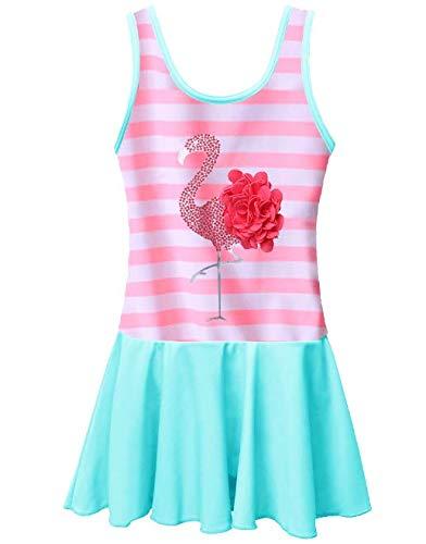 (BAOHULU Toddler Girls Swimsuit One Piece Cute Floral Dress Swimwear 3-8 Years (3-4Y, PinkStripes))