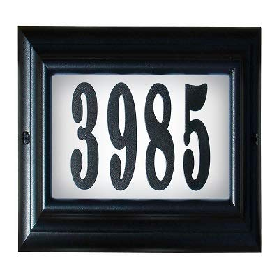 Qualarc Edgewood Large Lighted Address Plaque in Black Frame Color with LED Bulbs
