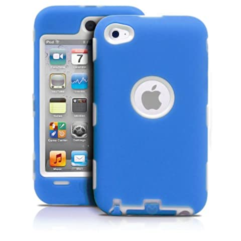 iPod Touch 4th Case, MagicMobile Premium Heavy Duty Hybrid Shockproof Armor Cover Blue Silicone Layer and White Hard Plastic (Ipod 4th Gen Case Blue)