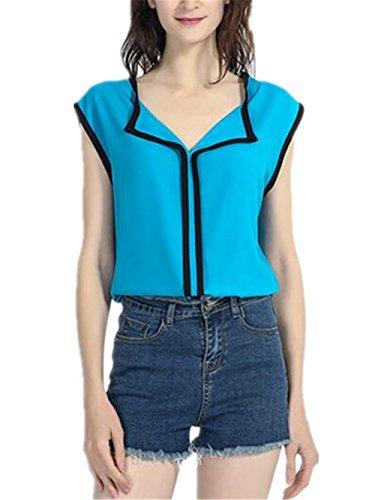 Tunique Sky t en Mousseline Tops Aoliait Chemises Shirt Manches en Loose Blue Femme Haut Dcontracte sans Elgant T Tendance Blouse zwqxExg5U