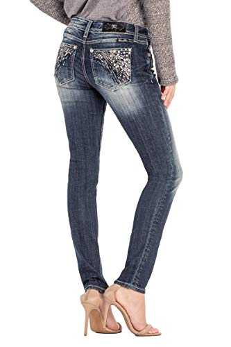 Stud Pocket Jean - Miss Me Women's Hailey Sequin and Stud Embellished Pocket Mid-Rise Skinny Jeans (Dark Blue, 25)