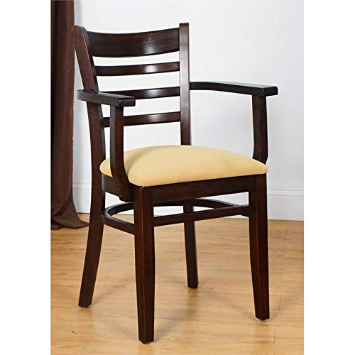 Beechwood Mountain BSD-5A-W Solid Beech Wood Kitchen and Dining Arm Chair, Walnut