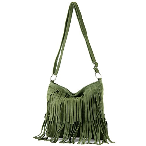 bag real leather T02 shoulder handbag suede Italian Women's Olive bag shopper bag zHWwY