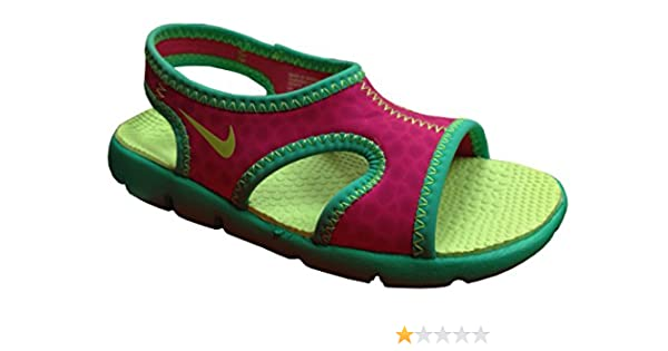 68e059b1c3c167 Amazon.com New Nike Baby Girl s Sunray 9 Sandal Hot Pink Lime 6 Shoes ...