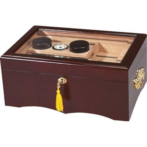 Quality Importers El Rey Desktop Cigar Humidor, Mahogany Finish, Spanish Cedar Tray & Divider, 2 Humidifiers, Glass Hygrometer, Gold-Plated Lock and Key with Tassel, Brown