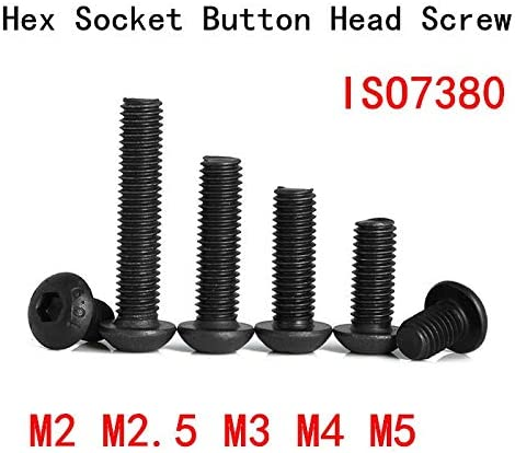 Marque: QWERTY Bouton Hex t/ête /à six pans Vis M2 // M2,5 // M3 // M4 // M5 * 5//6//8//10//12//16//20//30//40 // 50mm boulon vis de t/ête de champignon noir Grade10.9 brand:OWERTY Size : M2x8 50pcs