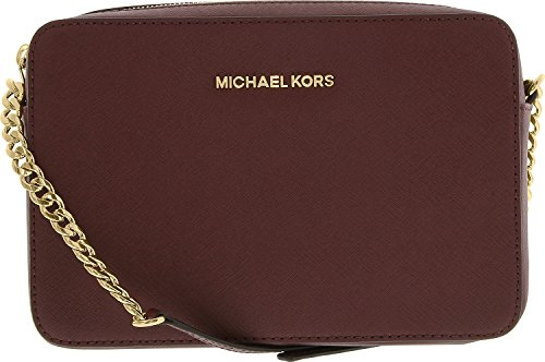 Michael Kors  Women's Jet Set Crossbody Leather Bag, Merlot, Large (The Best Leather Bags)