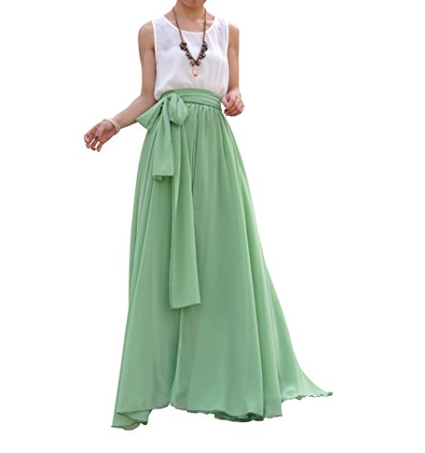 Melansay Beatiful Bow Tie Summer Beach Chiffon High Waist Maxi Skirt XXXL,Pale Green
